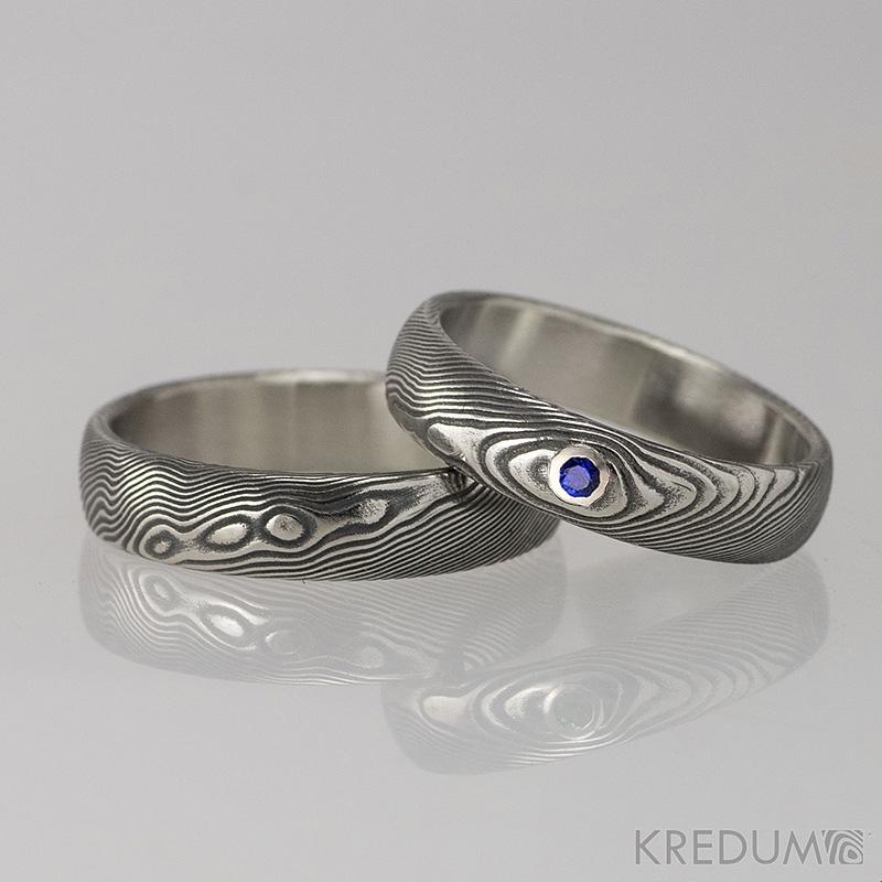 Snubni Prsteny Damasteel Prima Safir Par Snubniprsteny4u Cz