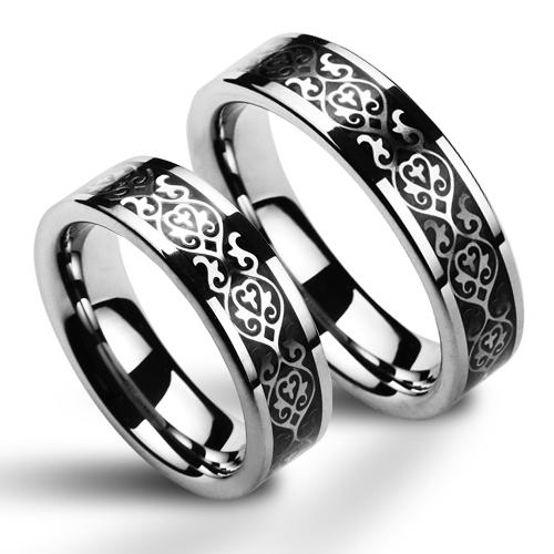 Wolframove Snubni Prsteny S Ornamenty Par Nwf1030 Snubniprsteny4u Cz